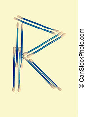 R alphabet of cotton swabs