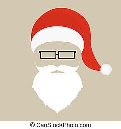 Santa hat, mustache, beard and glasses