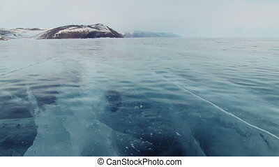 Baikal ice. - Winter Baikal lake in Siberia, slider shoot