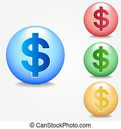 Dollar sign icon set