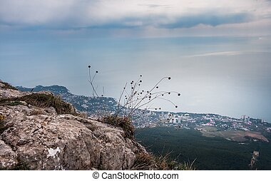 Ai-Petri Crimea landscape - view of Big Yalta city on...