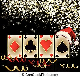 Merry Christmas and Happy new year casino banner, vector