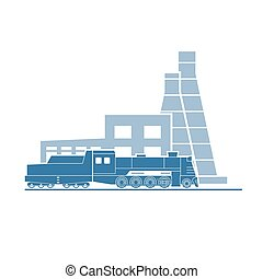 Steam locomotive at industrial plant. Vector illustration....