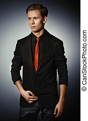 dandy man - Fashion shot of a handsome young man in elegant...