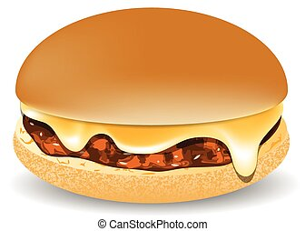 cheddar burger isolated on a white background