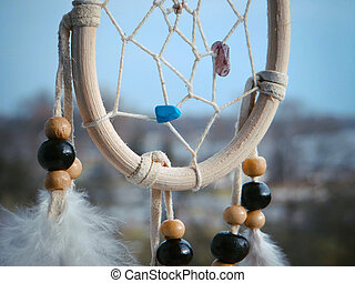 Wooden Dreamcatcher with feathers and beads - beautiful...