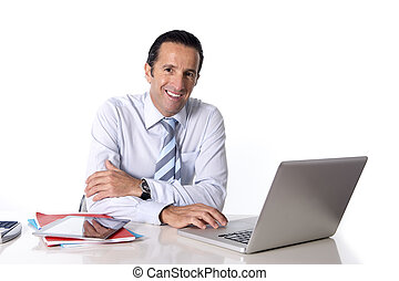 40 to 50 years old senior businessman working on computer at...