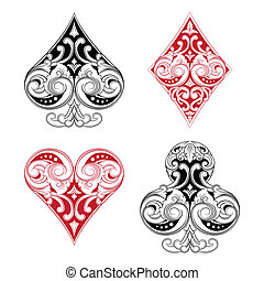 Black and Red Playing Card Ornamental