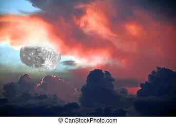 Fiery Lunar Sunset