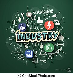 Industry collage with icons on blackboard