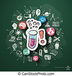 Science collage with icons on blackboard Vector illustration...