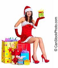 santa, ayudante, mujer, con, compras, Bolsas,