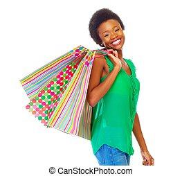 Beautiful african girl with shopping bags - Beautiful...