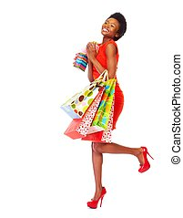 African woman with shopping bags - African girl with...