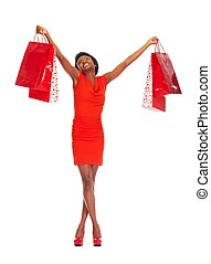 African girl with shopping bags - African girl with shopping...