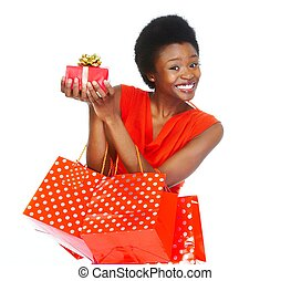 African girl with shopping bags - African girl with...