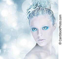 Winter beauty - Make up sparkling silver and light blue