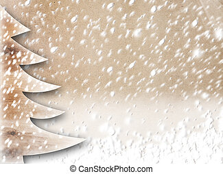 Christmas paper tree on the snow-covered abstract background