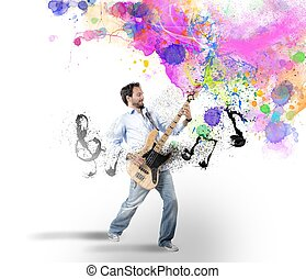 Boy with bass guitar - Boy play with bass guitar with...