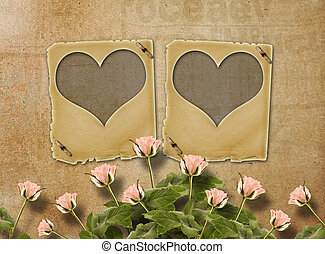 Greeting Card to St Valentines Day with roses and slides in...