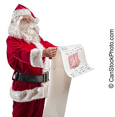 Santa Claus with gifts list - Santa Claus with a big gifts...