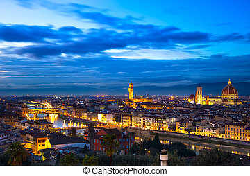 Florence or Firenze sunset aerial cityscape. Panorama view from