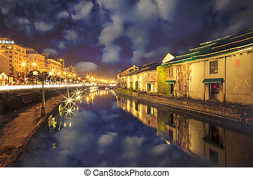 Otaru, Japan historic canal and warehousedistrict for adv or...