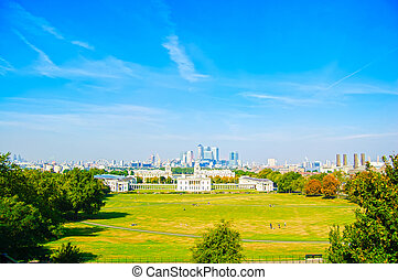 Greenwich Park, Maritime Museum and London skyline on...