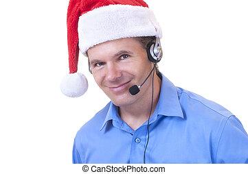 Customer service rep in Santa hat