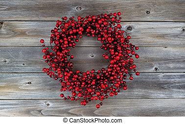 röd, bär, helgdag, krans, på, Wood, ,