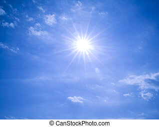 Sun in the Blue sky - Sun shining in the blue sky, with...
