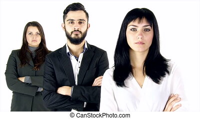 Three business people serious