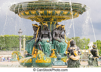 Fountain in Place de la Concorde - Paris, France.