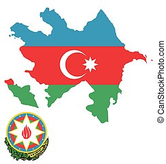 Azerbaijan Flag - Flag and coat of arms of the Republic o...
