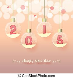 happy new year 2015 - year 2015 sign in pink color in snow...