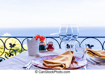 Capri, Italy. - Dining table ready to receive guests at the...