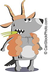 Wolf in sheep skin 02 - Cartoon wolf in sheep skin isolated...