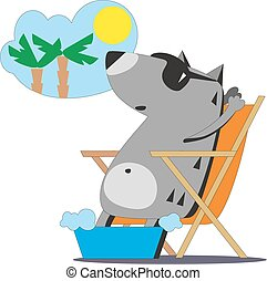 Wolf dreaming about vacation 04 - Cartoon wolf in sunglasses...