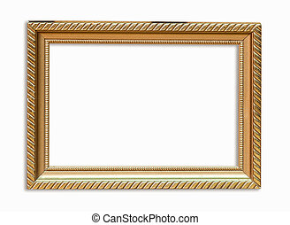 Golden frame picture on isolated white with clipping path.