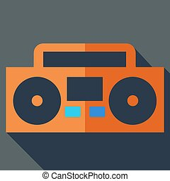 Modern flat design concept icon. Boom box, tape recorder....