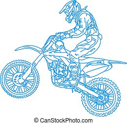 silhouettes Motocross rider on a motorcycle Vector...