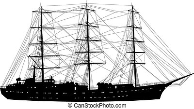 Ship sailing boat silhouette isolated on white background....