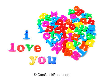 Alphabets in Heart Shape on White Background