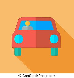 Modern flat design concept icon car. Vector illustration.