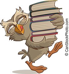 Satisfied owl carries books Illustration in vector format