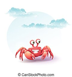illustration merry crab on a background of sky