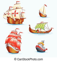 Set of historical ships