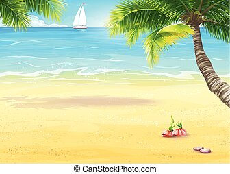 Illustration of the sea shore with palm trees and seashells