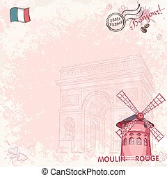 Background image on paris depicting the Moulin Rouge