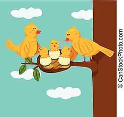 Illustrator of birds family funny cartoon